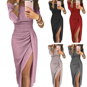 QueenLine Evening Party Dress Sexy Women Off Shoulder High Split 3/4 Sleeve Bodycon Maxi Dress robe femme vestidos de fiesta de noche