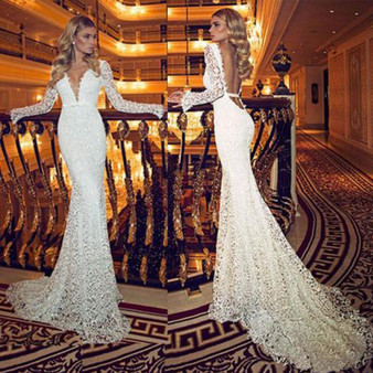 QueenLine Fashion Womens Ladies Stylish Solid Color Sexy Deep V Neck Lace Stitching Long-Sleeved Party Gown Wedding Halter Long Maxi Dress
