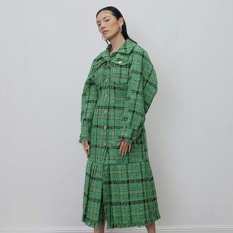 QueenLine Plaid Ruffle Coats Women Lapel Collar Lantern Long Sleeve High Waist Split Jacket Female 2019 Clothing Fashion Tide