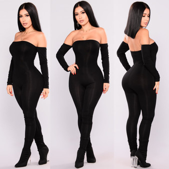 QueenLine Jumpsuit Women Off Shoulder Bodycon Long Sleeve Clubwear Playsuit Jumpsuits Rompers Skinny Sexy Jumpsuits Female Black Trousers