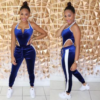 QueenLine 2 Piece Set Long Jumpsuit Slim High Waist Rompers Womens Jumpsuit Sleeveless Backless Velvet Sexy Jumpsuit Overalls For Women