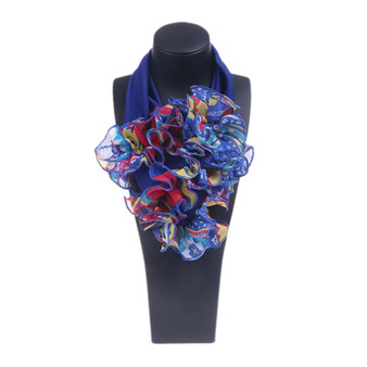 QueenLine Womens Floral Collar Scarf Luxury Flower Printed Neckerchief Ring Neck Scarves 517D