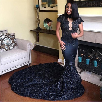 QueenLine Robe De Soiree 2019 Elegant Black Lace Mermaid Evening Gown Trendy 3D Flowers Beaded Appliques African Women Prom Formal Dresses