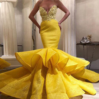 QueenLine New African Long Evening Party Dresses Elegant Yellow Lace Applique Satin Tiered Women Prom Formal Dress Mermaid robe de soiree