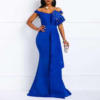 QueenLine Women Long Dress Summer Sexy Mermaid Beads Off Shoulder Fashion Robe Prom Evening Ladies Blue Elegant 2019 African Maxi Dresses