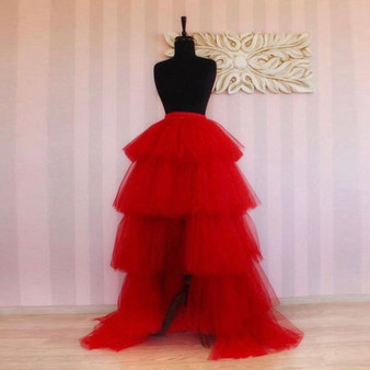 QueenLine Red High Low Tulle Skirts 2020 Real Image Custom Fashion Long Tiered Prom Skirt Women Zipper Waistline Female Maxi Tulle Skirt
