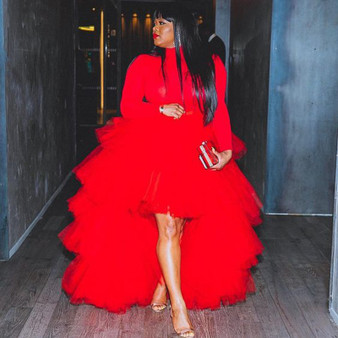QueenLine Red High Low Tulle Skirt for Women Puffy Draped Tulle Mesh Tutu Asymmetric Prom Skirts Wedding Guest Gown Saia Faldas