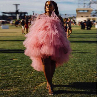 QueenLine Chic Short Tiered Tulle Dresses 2019 Hot Sale Prom Gowns Hi Low Formal Party Dress Cheap Robe de soiree Plus Size Cocktail Gowns