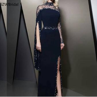 QueenLine New Arrival Black Evening dress 2020 kaftan dubai Long sleeve Prom dress Party evening gowns robe de soiree Sexy evening dresses
