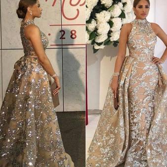 QueenLine Glitter Sequins Sparkle Long  Evening Dresses 2019 Mermaid Detachable Train Arabic Dudai Formal Dress Prom Gown Robe de Soiree