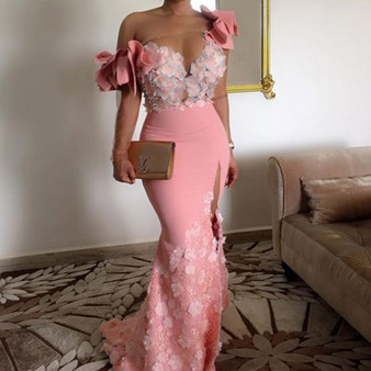 QueenLine Elegant Floral African Evening Gowns Long Sleeves One Shoulder Pink Mermaid Arabic Prom Dresses Dubai Side Slit Robe De Soiree