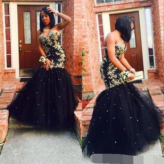 QueenLine robe de soiree Gold Appliques Black Tulle Mermaid Long Elegant Evening Dress Sweetheart Beaded African Prom Formal dress