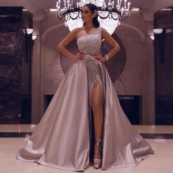 QueenLine New Detachable Skirt Evening Dresses 2020 One Shoulder Sexy High Slit Formal Prom Dresses Pink Sequins Party Gown Robe De Soiree