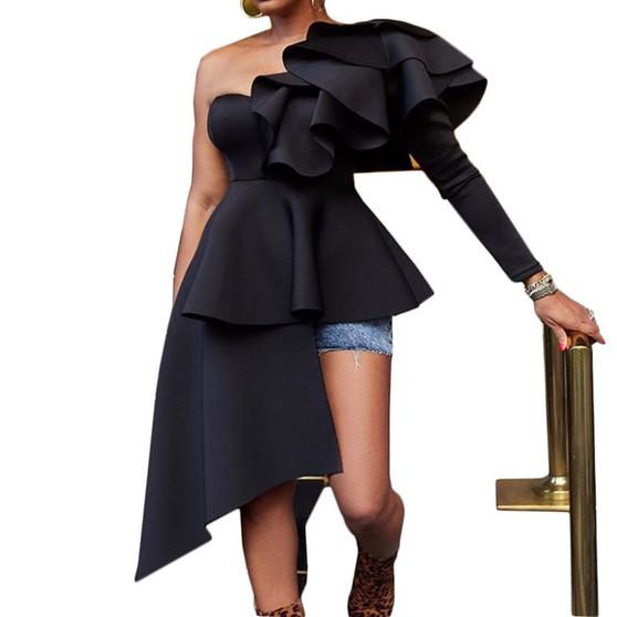 QueenLine African Women Long Blouse Tops Ruffles Skew Collar Black High Waist Shirts 2019 Elegant Party Dinner Asymmetrical Tops Blouses