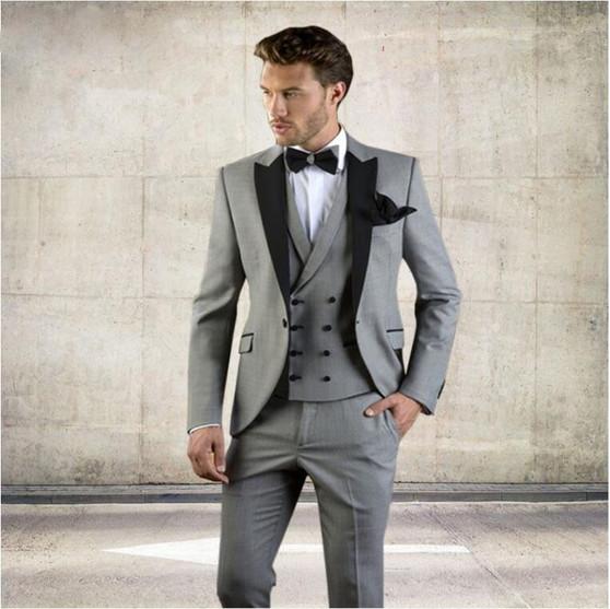 QueenLine (Blazer+Pants+Vest)2019 Grey Men Suit Slim Fit Jacket With Black Tuxedo Custom Made Blazer Wedding Groom Suits costume homme