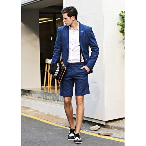 QueenLine 2018 Latest Coat Blue Summer Beach Simple Men Suit with Short Pant Jacket Simple Custom mens suits wedding Tuxedo 2 Piece Terno