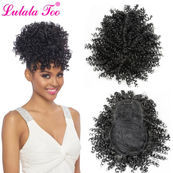 QueenLine Synthetic Fake Afro Kinky Curly Drawstring Ponytail With Bangs Wig Hair Bun Chignon Clip in Pony Tail Hair Extension