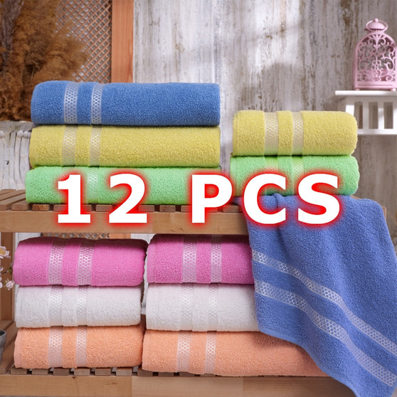QueenLine  12pcs Turkish Towel Set Bath Towel | Hand Towel Set | Hotel & Spa Quality, quick Dry Highly Absorbent Turkish Towels from Turkey
