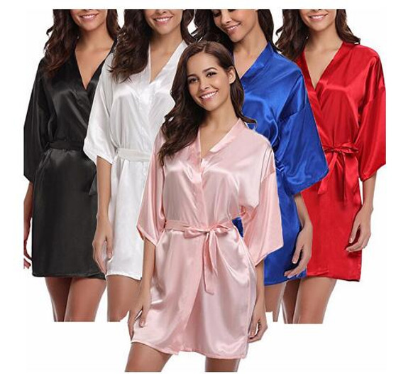QueenLine  4XL.Women's Satin Wedding Kimono Bride Robe.Sleepwear Bridesmaid Robes Pajamas Bathrobe Nightgown Spa Bridal Robes Dressing Gown