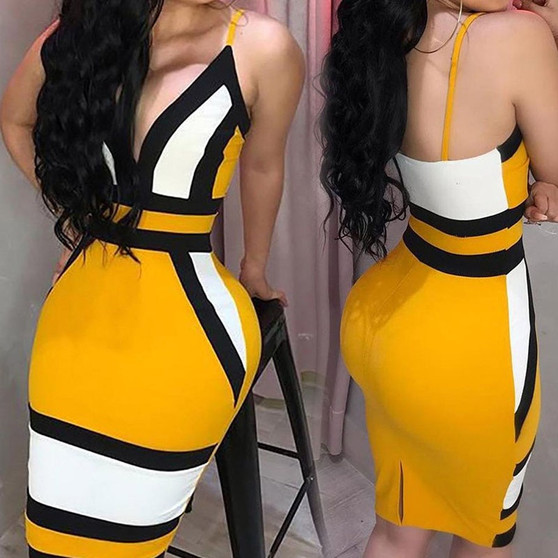 QueenLine  Strip Camis Dress Women Sexy Geometric Figure Yellow Strap Bodycon Casual Deep V Neck Boho Resort High Waist Club Party Dress