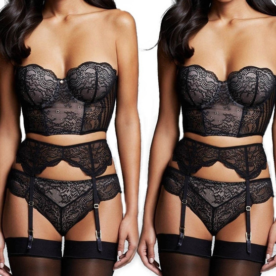 QueenLine Hot 3pcs Lace Bra And Panty Set with Garter Belt Women's Sexy Lingerie Transparent Brief Bra Sets Sexy Lace Underwear Bra Set #W