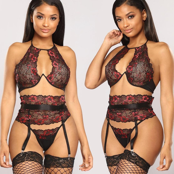 QueenLine  3pcs Sexy Lace Lingerie Set Women Underwear Bra Set Sexy Brief Sets Push up Transparent Lace Embroidery Underwear Bre Set #W