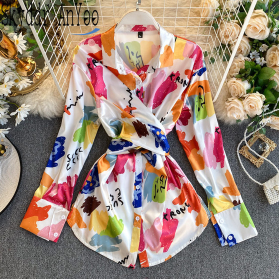 QueenLine 2020 Spring Fashion Blouse Women Turn Down Collar Shirt Elegant Womens Tops And Blouses Long Tunic Desigual Ladies Tops Blusas