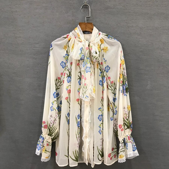 QueenLine Chiffon Blouse 2019 Summer Spring New Fashion Design Women Long Lantern Sleeve Colorful Flowers Printed White Shirt
