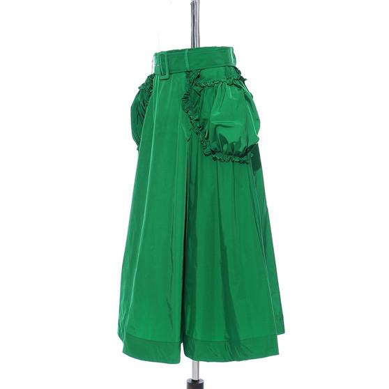 QueenLine  High Waist Green Ruffles Split Joint Pocket Temperament Half-body Skirt Women Fashion Tide New Spring Autumn 2020 1S554