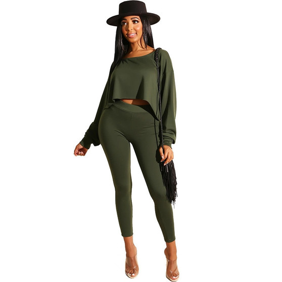 QueenLine Casual Solid 2 Piece Matching Set Women Clothes Long Sleeve Crop Top and Pants Leggings Jogger Tracksuit Two Piece Outfits Fall