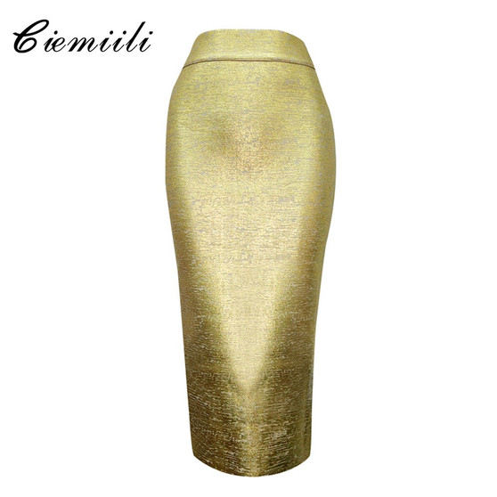 QueenLine Skirt High Waist Candy Color Newest Night Club Celebrity Mid-calf Bodycon Sexy Bandage Pencil Skirts