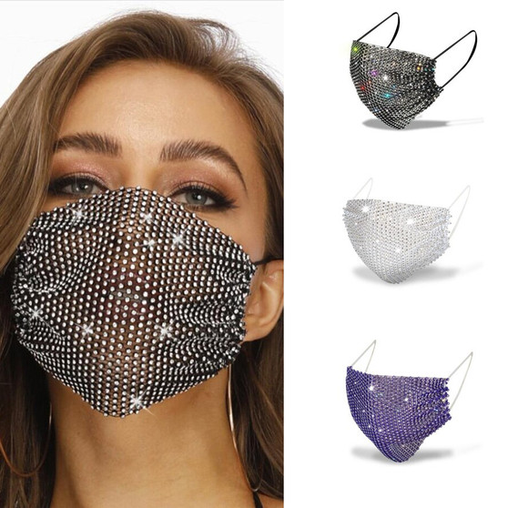 QueenLine rhinestone crystal fashion luxury woman man jewelry mask face jewelry sexy bling diamond hollow mask