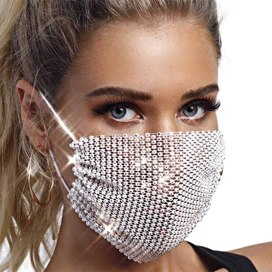 QueenLine AB Diamond Crystal Masquerade Mask for Face Dance Party Jewelry Mesh Net Sequined Black Face Mask Fashion for Women Girls 2020