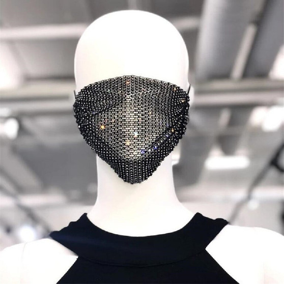 QueenLine Spring new mesh flash diamond jewelry mask diamond jewelry face mask for woman jewelry party