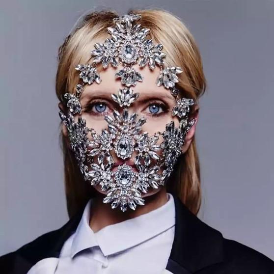 QueenLine Fashion Halloween Leaf Crystal Rhinestone Face Mask for Women Bling Custom Designer Facemask Rhinestones Dance Jewelry
