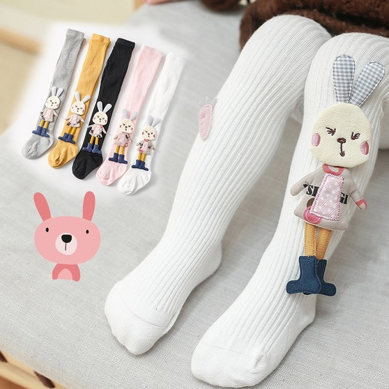 QueenLine Baby Girls Stockings Cartoon Tights Cute 3D Rabbit Pantyhose Cotton Winter Tights Baby Girl Socks Fashion New Autumn Pants  0-4T