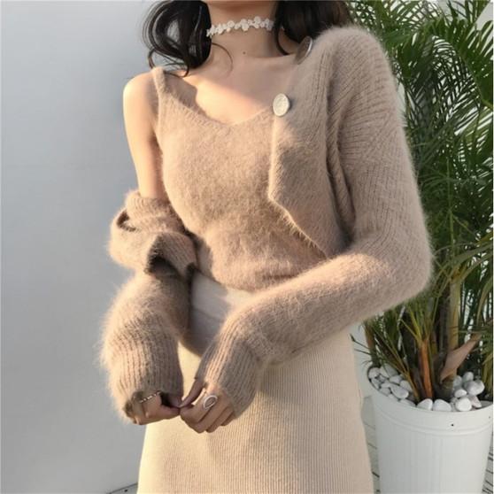QueenLine chic elegant Two-piece set Korean cardigans designer fashion brand new v-neck vest autumn winter clothes women sweaters ulzzang