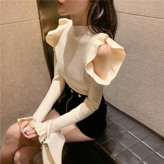 QueenLine sexy knitted hollow out Designer fashion brand pullovers Slim club off shoulder ladies tops spring autumn sweater women new