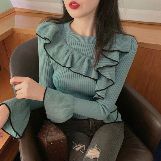 QueenLine autumn winter clothes women sweater ruffles sweet Korean style knitted pullovers fashion brand flare sleeve ladies tops new