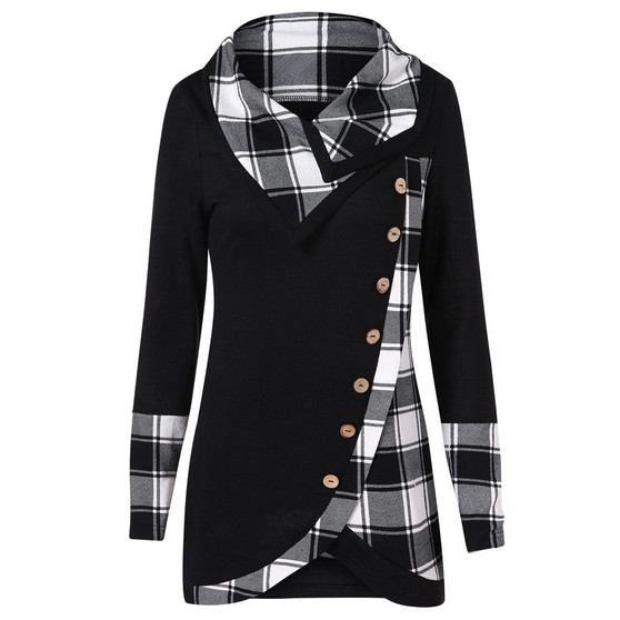 QueenLine  Womens Tops And Blouses Vintage Button Plaid Long Sleeve Blouse Women Clothes Streetwear Ladies Tops Fashion Clothing