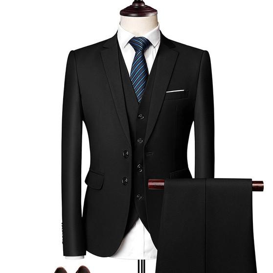 QueenLine 3 Piece Suits Men Men's Suit Suit Korean Edition Youth Handsome British Style Slimming Suit Groomsman's Wedding Dress