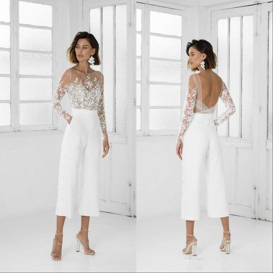 QueenLine Sexy Jumpsuit Wedding Dresses Long Sleeves Sheer Neck Backless Lace Appliqued Tea Length Beach Bohemian Wedding Dress