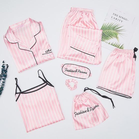 QueenLine  Autumn Spring 7 Pieces Set Silk Elegant Women Pajamas stripe Shorts Long Sleeve Tops Elastic Waist Pants Full Lounge Sleepwear
