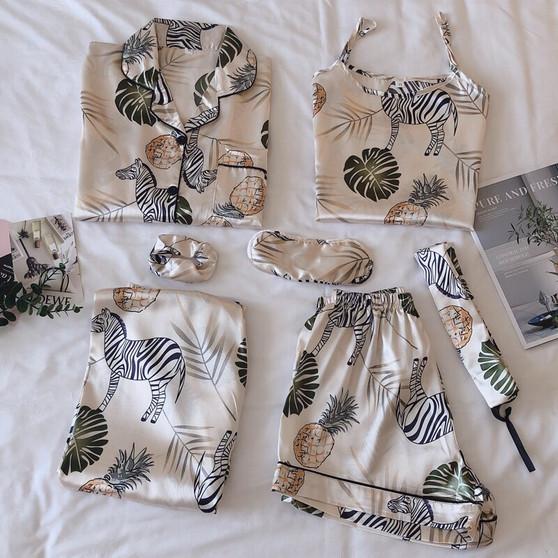 QueenLine  7 Pieces Womens Silk Satin Pajamas Sets Ladies Pyjamas Set Sleepwear Pijama Suit Female luxurious Sleep Two Piece Set Loungewear