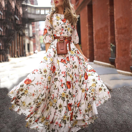 QueenLine  Floral Print Women Summer Dress Half Sleeve Bohemian Swing Maxi Dresses Holiday Vestidos Chic Plus Size Beach Dress Rode 2021