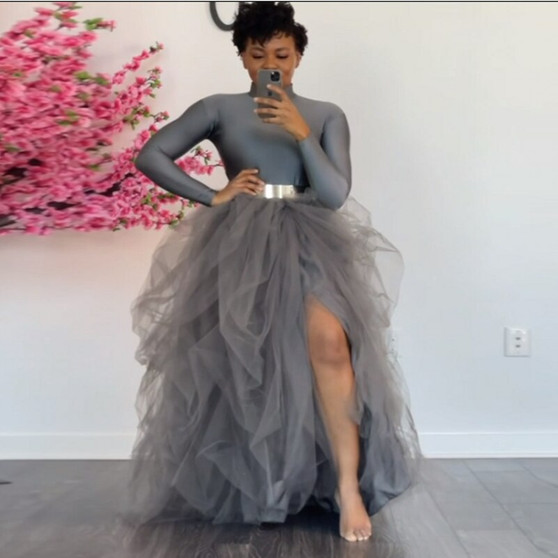 QueenLine  Extra Puffy Party Skirts Tutu vestidos de fiesta Gray Long Skirt Tulle Split Adult Women Skirts Grey Elastic Waistband