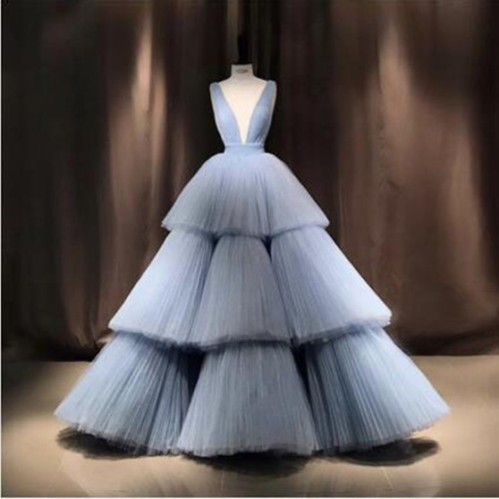 QueenLine Real Image Sky Blue Ball Gown Evening Party Dresses Fashion Deep V Neck Puffy Chic Tiered Tulle Prom Gowns Robe de soiree