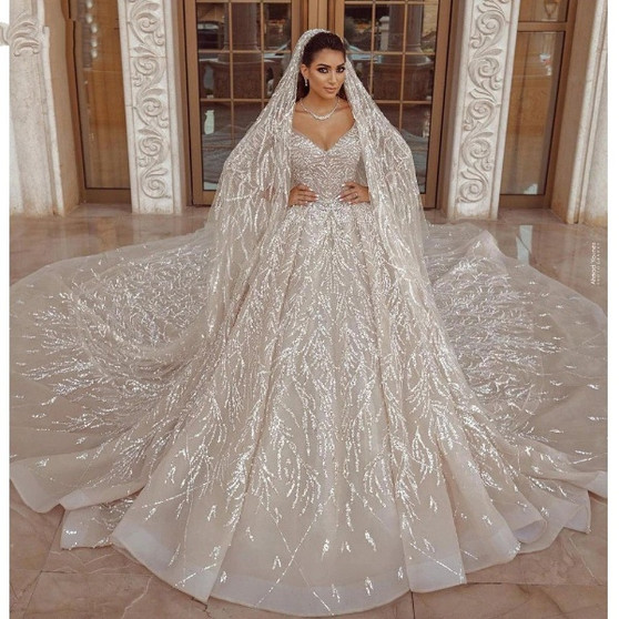 QueenLine Luxury Arabic Champagne Wedding Dresses Ball Gown Long Sleeve Sequins Beaded Bridal Wedding Gowns With Long Train|Wedding Dresses|