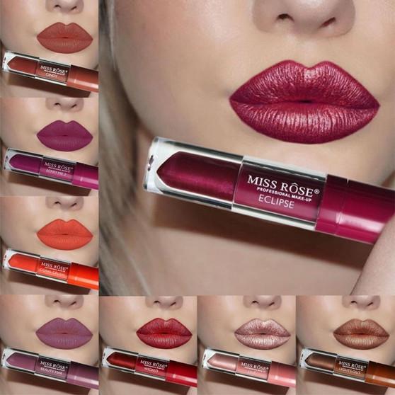 QueenLine 24 Colors Matte Liquid Lipstick Waterproof Long Lasting Non-stick Cup Lip Gloss Lint Makeup Lips Mate Nude Metallic Lipgloss