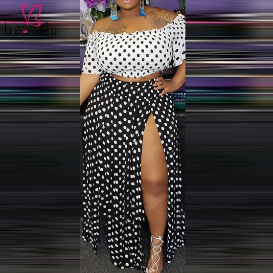 QueenLine 4XL Plus Size Off Shoulder Women Two Piece Set Polka Dot Slash Neck Crop Top High Split Maxi Skirt Sets Summer Boho Beach Outfit